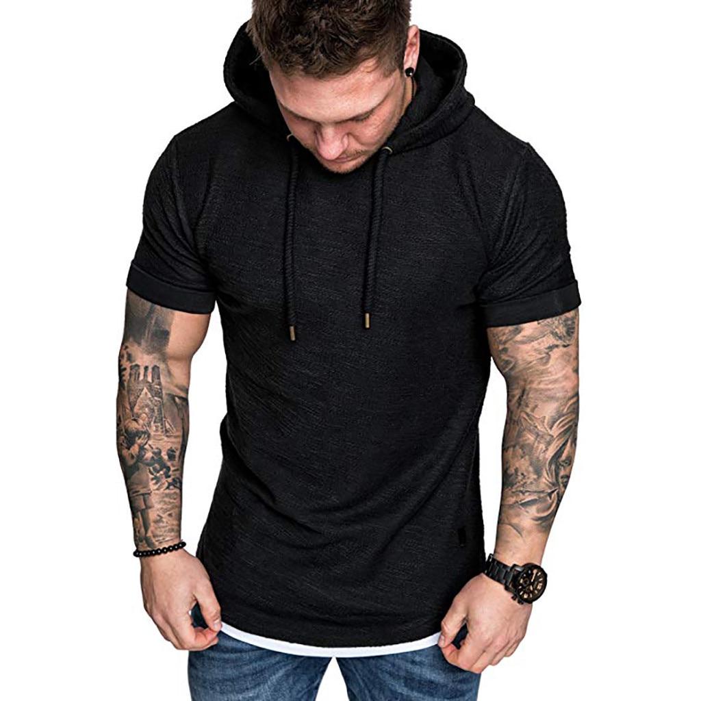 Kancoold 2019 verão curto sleve com capuz t camisa dos homens de cor sólida moda hoodie topo masculino fino ajuste camiseta topos masculino 823