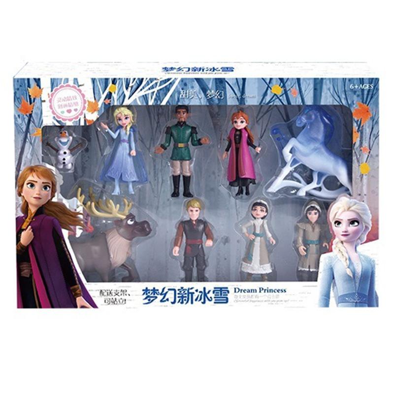 HOT 1set Frozen 2 Snow Queen Elsa Anna PVC Action Figure Olaf Kristoff Sven Anime Dolls Figurines Kids Toy Children Gift