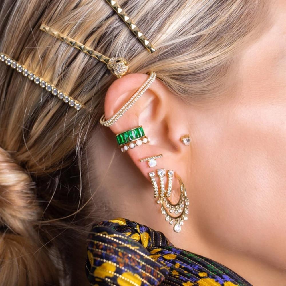 ANDYWEN, pendiente de Plata de Ley 925 con incrustaciones para las orejas, pendientes sin Piercing, pendientes sencillos, joyería de cristal de moda 2019