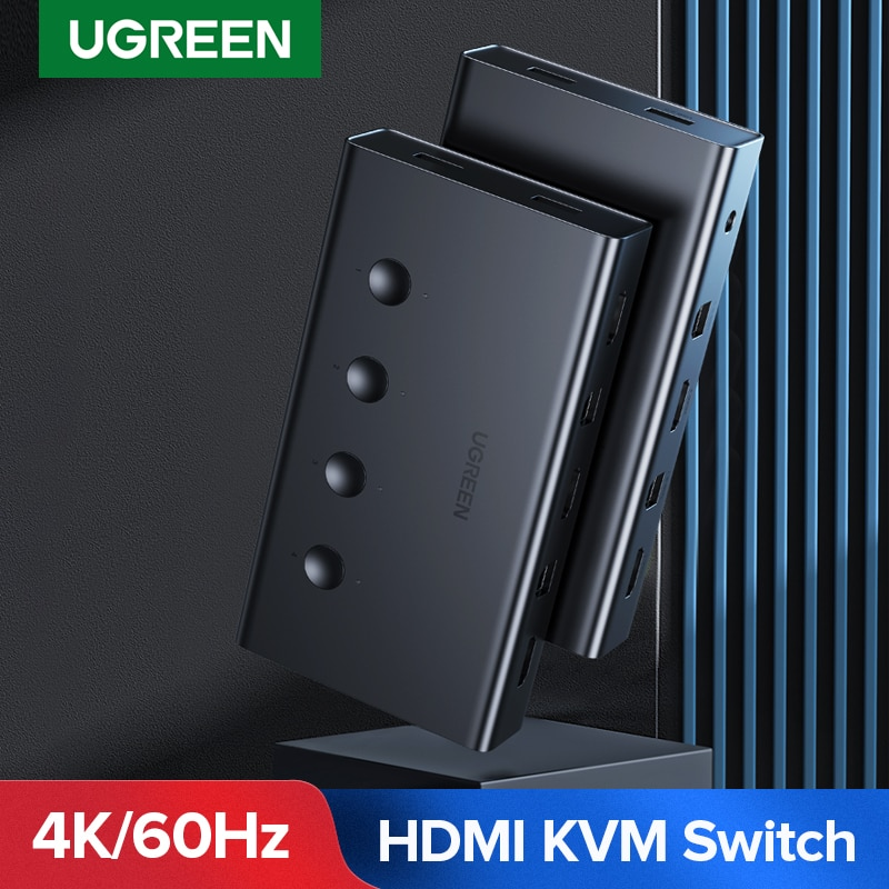 Ugreen HDMI Switch KVM Switch for Xiaomi Mi Box 4 In 1 Out 4 PCs Sharing Printer Keyboard Mouse 4 Ports 4K/60Hz HDMI KVM Switch