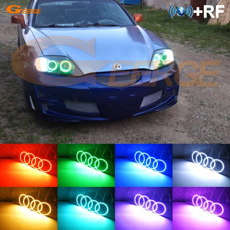 For Hyundai Tiburon Tuscani Coupe SIII 2003 2004 2005 2006 RF remote Bluetooth APP Multi-Color Ultra bright RGB LED Angel Eyes