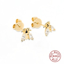 Silver 925 Jewelry Earrings For Women Little Bee With Diamonds Stud Earrings Gold/Silver Jewelry 202