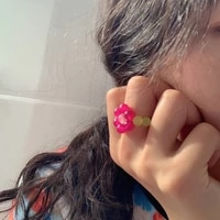 retro pink daisy flower beaded rings female south korea ins trendy rainbow vintage design ring for women birthday gifts jewelry