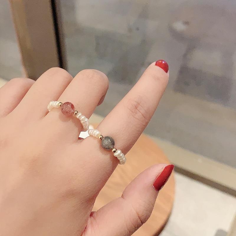 INS Niche-Cuentas de la suerte para mujer, piedra lunar, anillo de perlas...