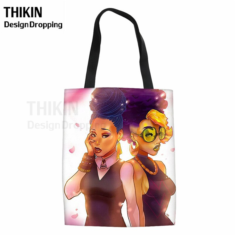 THIKIN, nueva moda, bolsa textil para Niñas Africanas, Bolsas de supermercado reutilizables para mujeres, Bolsas grandes de lona para carrito de compras, Bolsas de viaje para mujeres