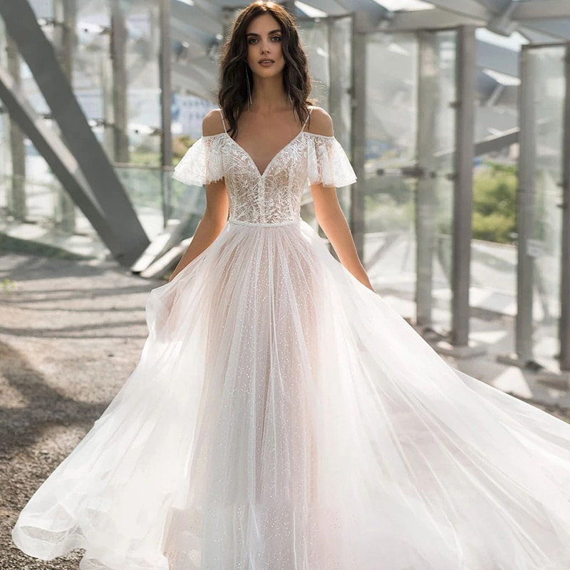 Get Wedding dress Lace wedding dress v-neck atmosphere short sleeve wedding gown sling plus size sequins simple lace tailing