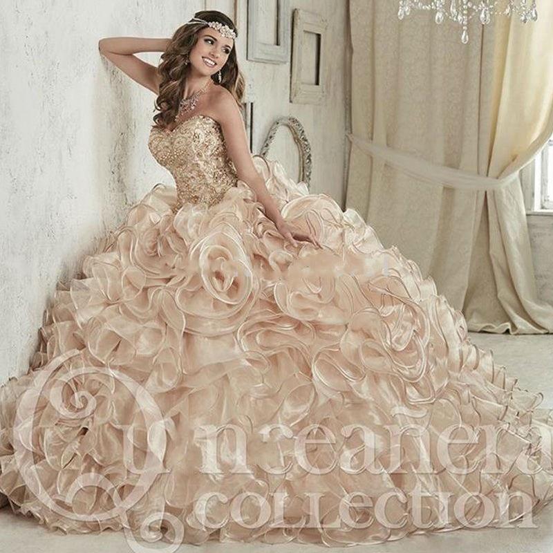 Lujoso vestido De fiesta con cristales De champán, Vestidos De quinceañera, Vestidos hasta el suelo, Vestidos De 15 Anos, vestido dulce 16