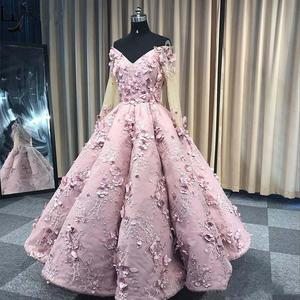 Real Pictures Pink Off Shoulder Prom Dresses 3D Floral Appliqued Women Occasion Pageant Gowns Quinceanera Dress