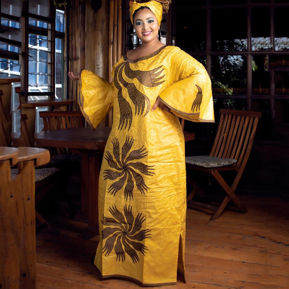 H & D-فستان أفريقي للنساء ، مقاس كبير 4xl 5xl ، بازان غني ، ماكسي ، ملابس أوروبية ، فساتين حفلات ، مجموعة جديدة 2021