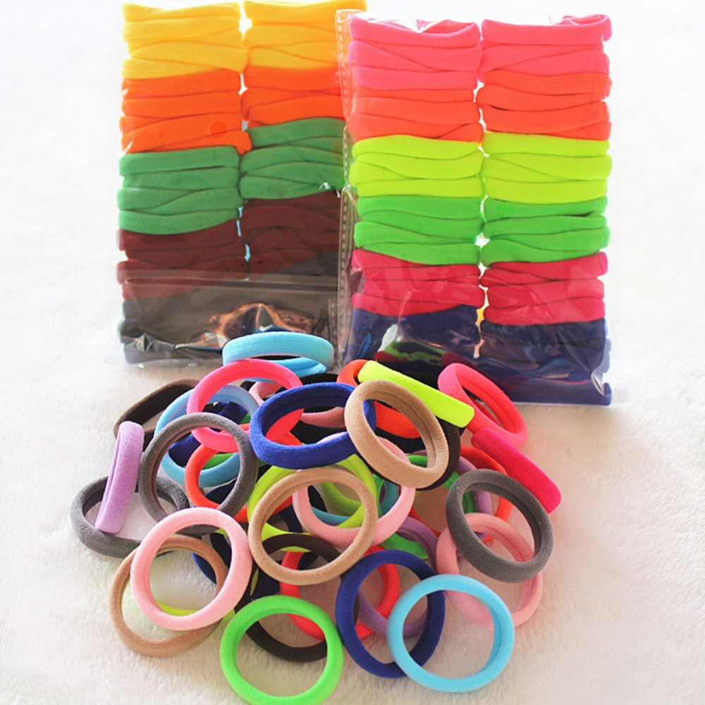 Lazos para el pelo 50 Uds. El precio más bajo bandas elásticas para pelo para niñas cuerda coleta pulsera cuerda de goma lazos para el pelo #40