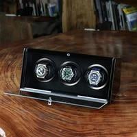 3 slots top quality watch winder motor stop automatic watch wooden watch winder for automatic watches 200908 29