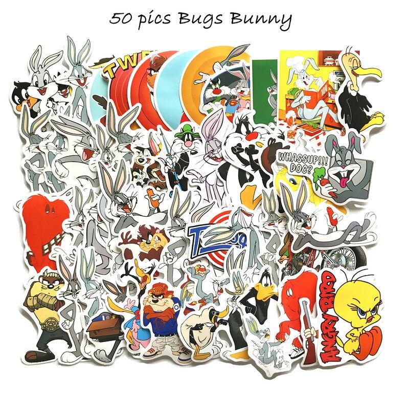 10-50-uds-pegatina-de-dibujos-animados-de-la-comedia-americana-bugs-bunny-impermeable-motocicleta-bicicleta-calcomania-para-equipajes-pegatinas-de-maleta