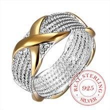 100% 925 فضة مجوهرات خمر اللون العرقي X خواتم فضة للنساء الرجال حجم 6 7 8 9 موضة Anel De Prata بيجو