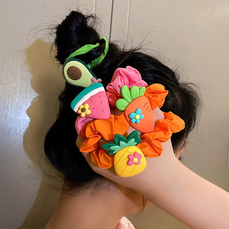 1PC kobiety postać z kreskówki owoce kwiat poliester elastyczna opaska do włosów kobiety dziewczyna słodkie gumowe do włosów krawat Scrunchie nakrycia głowy
