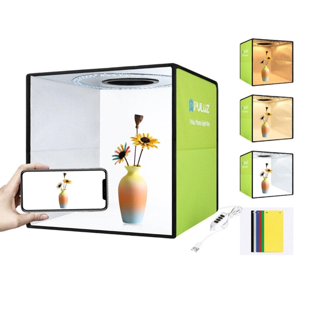 المحمولة للطي صندوق الضوء التصوير الفوتوغرافي استوديو سوفت بوكس صندوق إضاءة LED مع 6 ألوان صور خلفية عدة للكاميرا DSLR