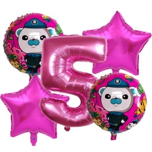 5pcs The Octonauts Theme party Aluminum Balloon 32inch Number Balloons Birthday Party Decorations Ba
