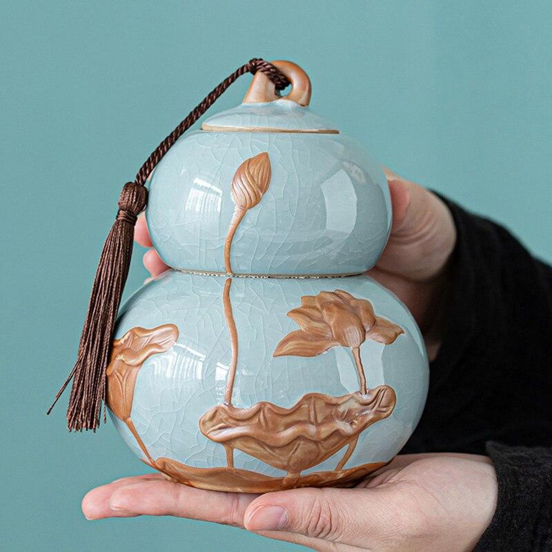 القرع نمط الشاي جرة شاي سيراميك برميل الشاي الأسود مختومة خزان خزان بوير Teacaddy 4 لون اختياري Onsale