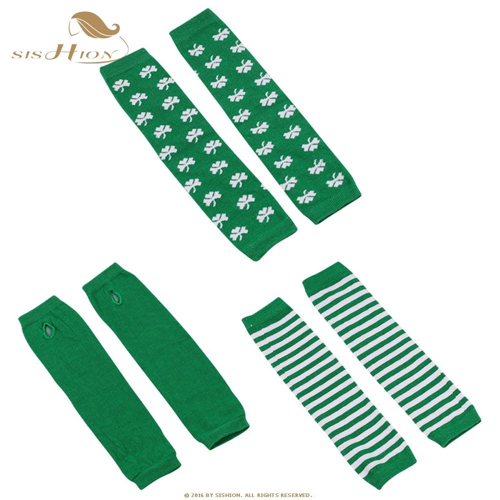 SISHION invierno Navidad manga de brazo calentadores guantes largos de Punto Verde rayas guantes sin dedos suave manoplas cálidas QY0649