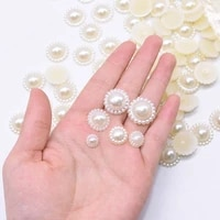 100pcs 9 19mm half round pearls beads flat back sunflower shape pearl resin beads diy nail art accessories decoration supplies