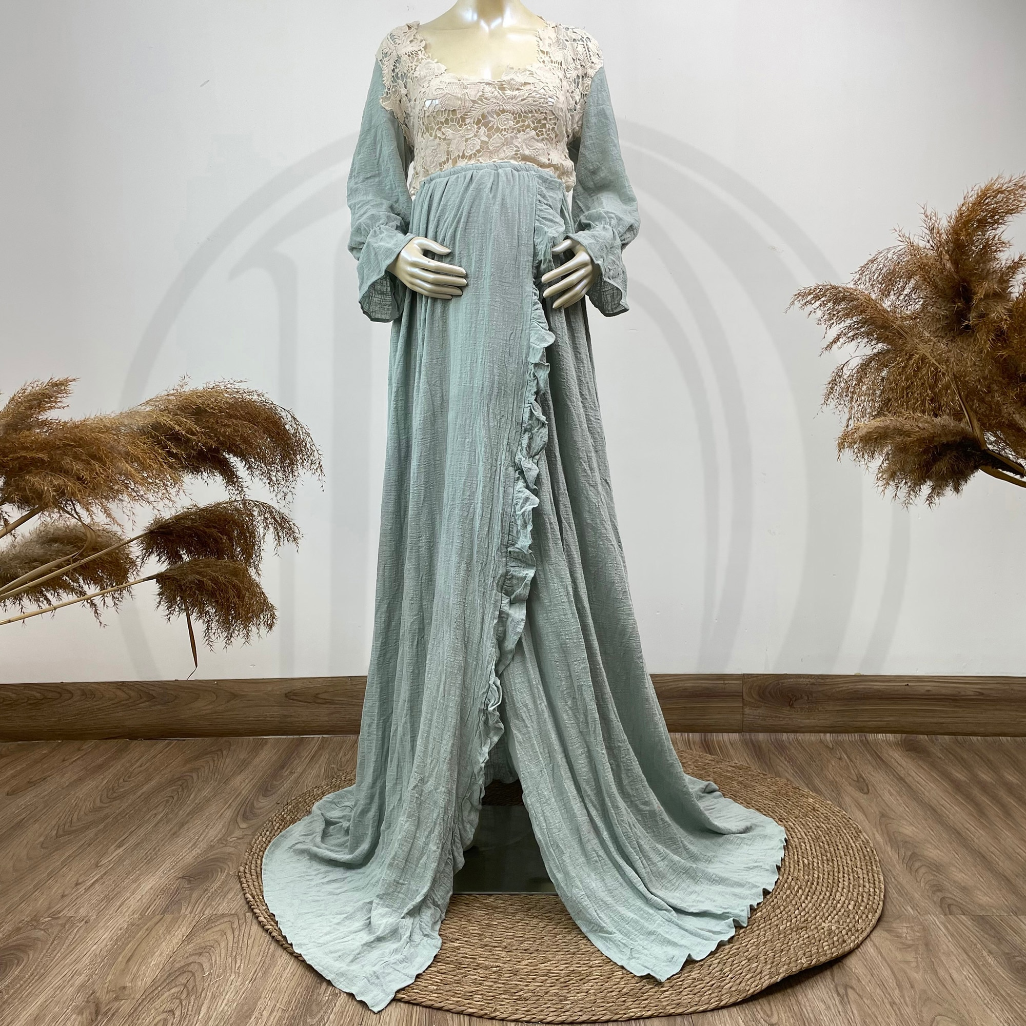 Photo Shoot Props Maxi Cotton Kaftan Full Sleeves Robe Maternity Dress Evening Party Costume for Women Photography Accessories