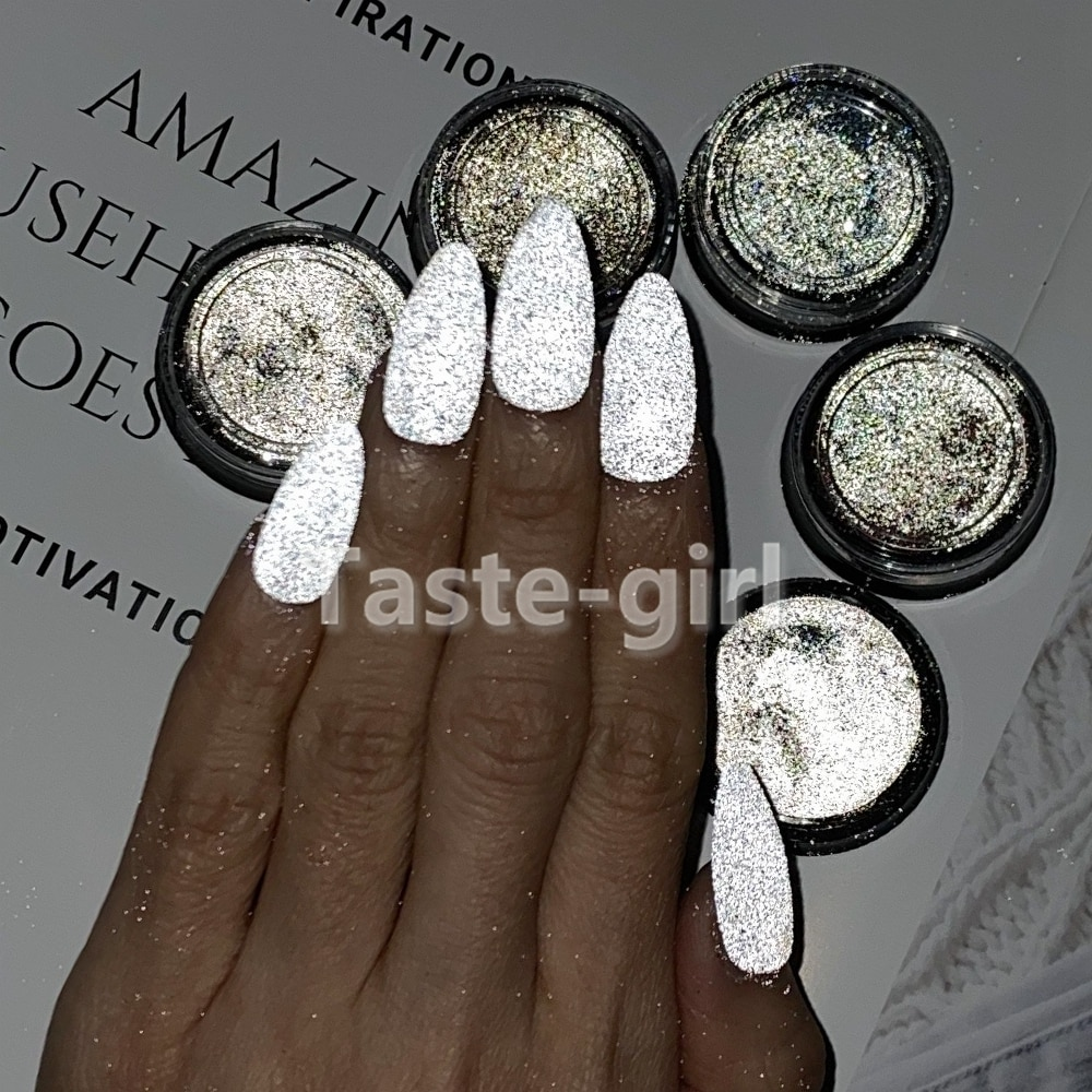 1 Pot Gray White Magic Color Nail Polish Reflective Powder Super Bright Bundi Powder Glitter Powder