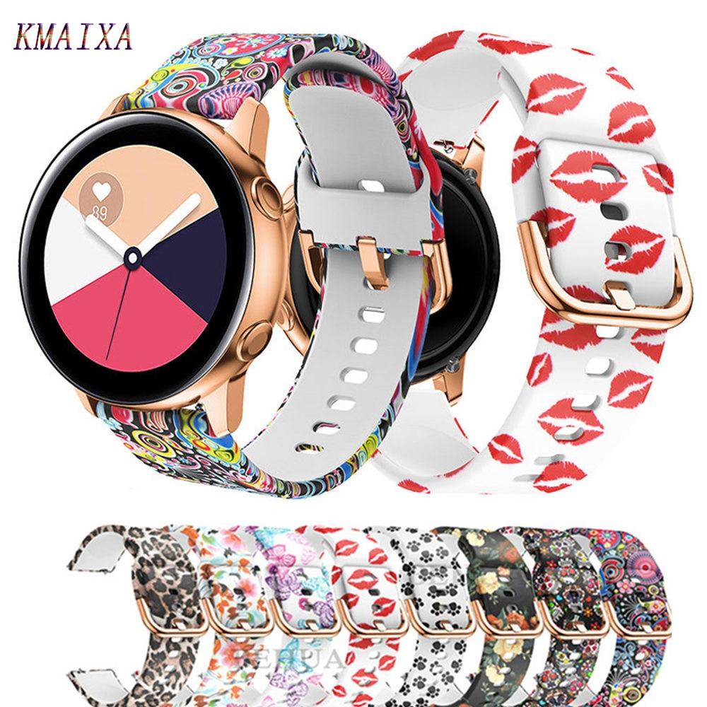 20mm watch strap for Samsung Galaxy Watch active 2/42mm Gear S2/Sport band Printed silicone bracelet Amazfit bip women belt 42mm