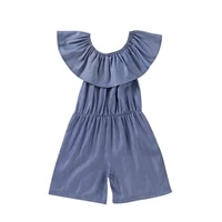 2021 2 7y casual infant baby girl denim playsuit overalls ruffle short sleeve off shoulder romper wide leg pants summer outfit