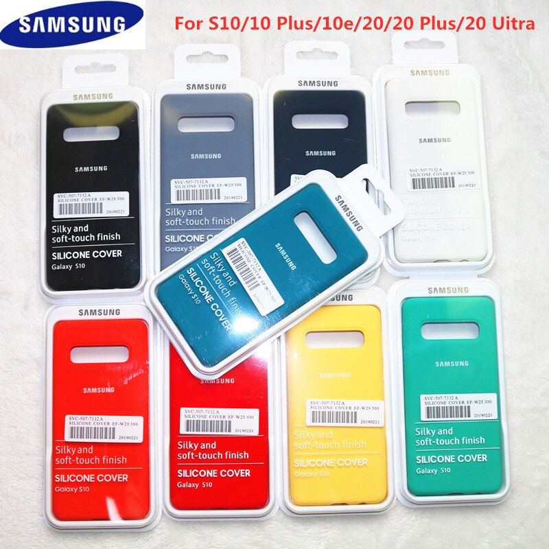 S10 Fall Original Samsung Galaxy S10 Plus/S10e Seidige Silikon Abdeckung Hohe Qualität Soft-Touch Zurück Schutzhülle S 10 + S10 E