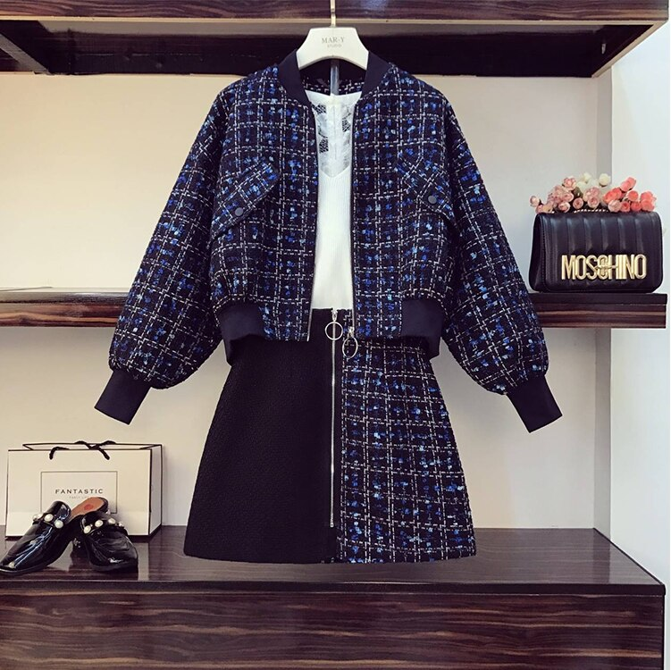 حجم كبير النساء مجموعة الخريف والشتاء جديد تويد خليط قصيرة سترة معطف تنورة صغيرة 2 قطعة مجموعة منقوشة الملابس مجموعة Dr1031