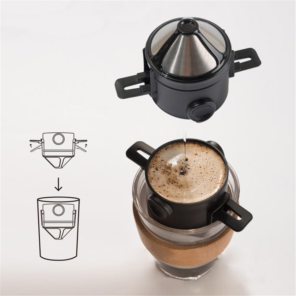 Taza de filtro de café de mano plegable filtro de café de malla fina goteador de café portátil 304 Acero inoxidable goteo café té infusor