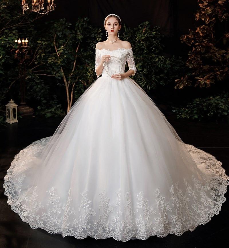 فستان زفاف مطرز بالدانتيل ، رقبة قارب ، زهور ، فراشة ، أميرة ، مجموعة جديدة 2021