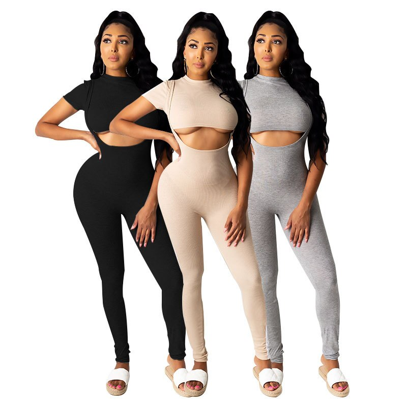 Women's  Tight Tracksuit European and American  Short-Sleeved T-shirt Stitching Strap Jumpsuit Two-Piece Set euro american simple round necked short sleeved chic port flavored elastic knitted dress with tight body and buttocks