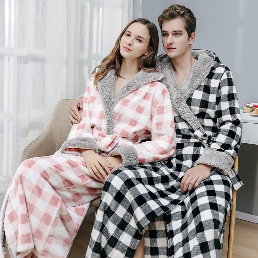Парный толстый теплый халат, Мужской осенне-зимний клетчатый мужской халат в стиле пэчворк, фланелевый длинный мужской Халат с капюшоном