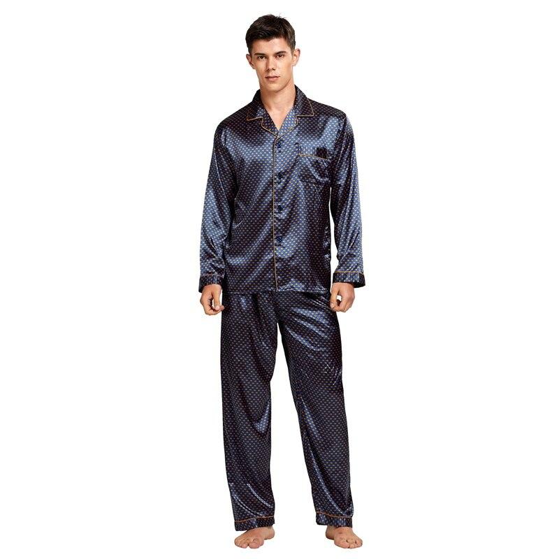 Tony% 26Candice Men% 27s Пятно Шелк Пижама Комплект Мужчины Пижамы Шелк Пижамы Мужчины Сексуальный Современный Стиль Мягкий Уютный Атлас Ночная рубашка Мужчины Лето