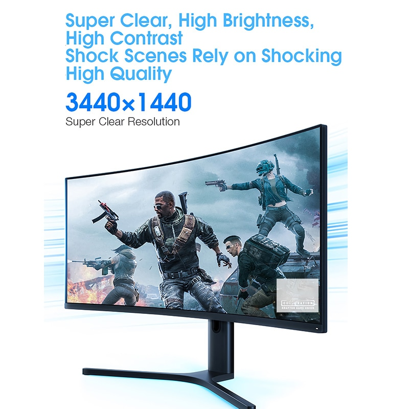 Изогнутый игровой монитор XIAOMI 34 дюйма 3440*1440 WQHD 21:9 экран 144 Гц Высокая частота обновления 121% sRGB 1500R кривизна-4