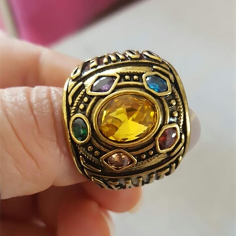Marvel infinito guerra thanos anel masculino feminino thanos power cosplay liga anel jóias anel de cristal fã presente