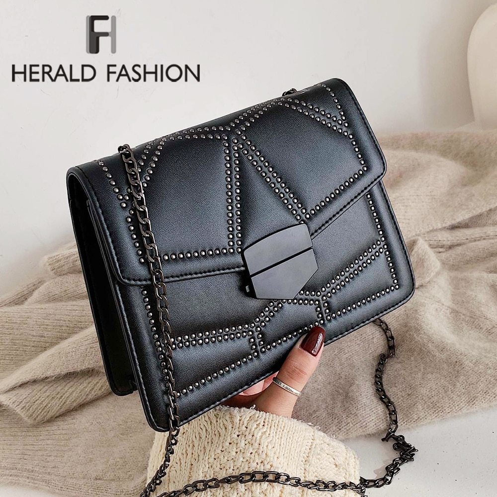 Ladies Rivet Chain Small Crossbody Bags For Women Brand Designer Bag 2020 Shoulder Messenger Bag Female Vintage Luxury Handbags