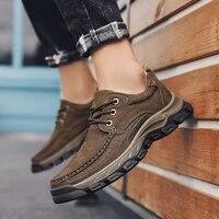 natural leather boots men non slip comfort autumn ankle boots shoes rubber sole vintage autumn walking shoes men