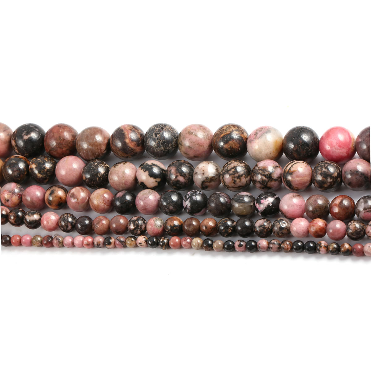 Natural Black Line Rhodochrosite Stone Beads Round Loose Beads for DIY Necklace Bracelet Jewelry Making Accessories Strand 15''  - buy with discount
