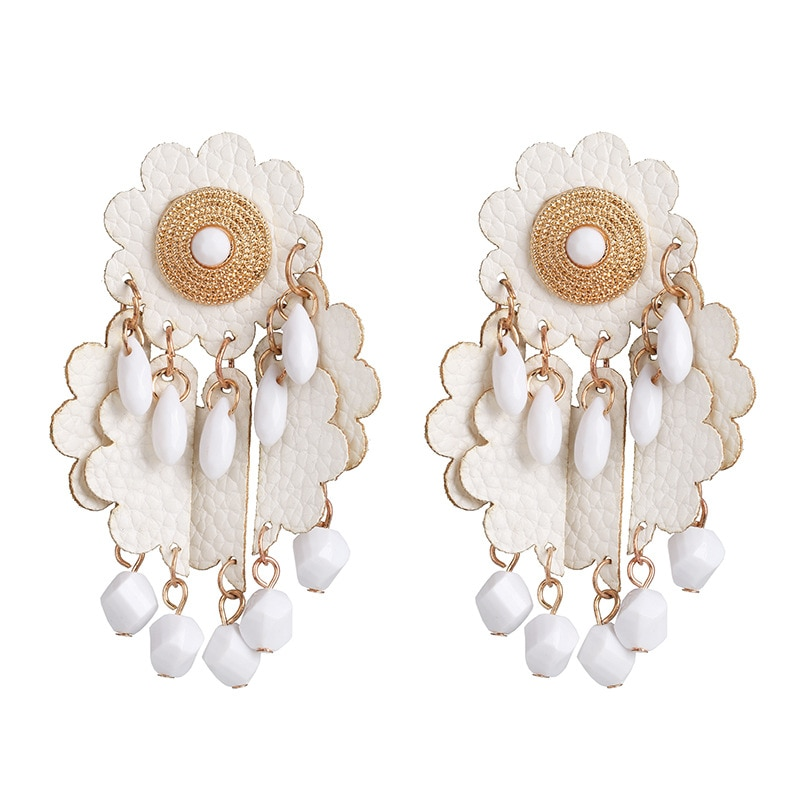 ¡Venta al por mayor! ¡Nuevo diseño! pendientes Zouchunfu de cuero de estilo bohemio con flores para mujer