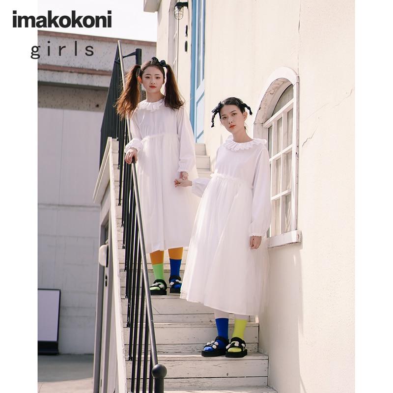 imakokoni original design Japanese sweet round neck pullover large swing dress single-piece gauze net skirt 213246