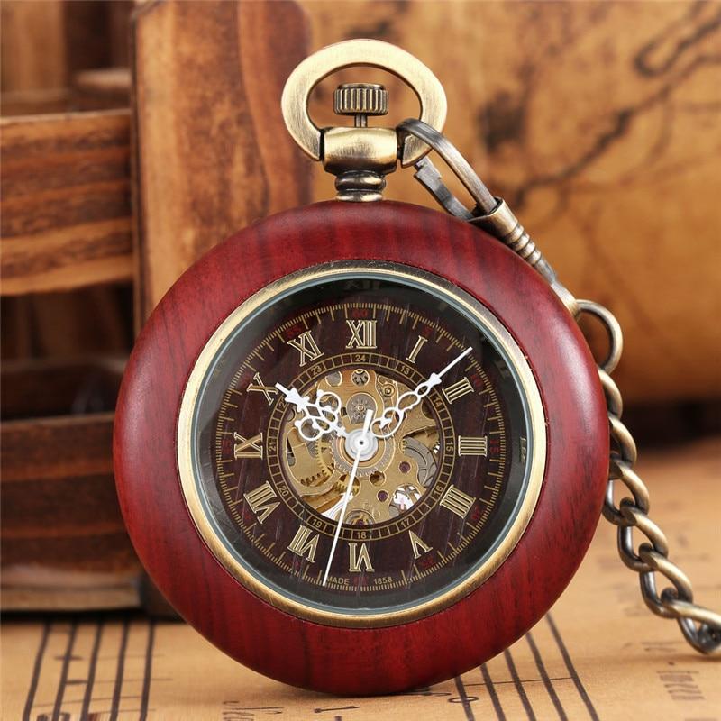 Handmade Retro Pocket Watch Unisex Skeleton Automatic Mechanical Watches Roman Number Dial Pendant FOB Clock Chain Reloj Gift