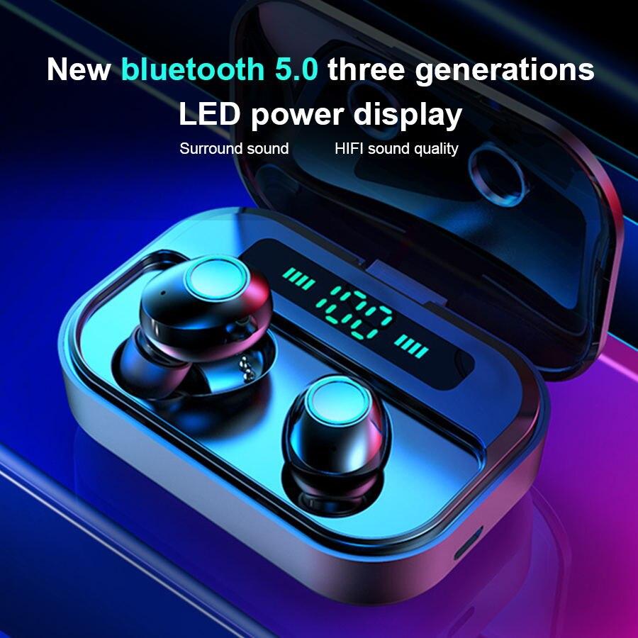 CBAOOO TWS auriculares Bluetooth 5,0 auriculares inalámbricos auriculares con pantalla LED de potencia IPX7 auriculares deportivos impermeables auriculares con bajos ESTÉREO