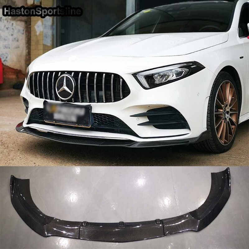 For Mercedes Benz A Class W177 Standard Bumper Carbon Fiber front lip spoiler front chin 2018 2019 3PCS