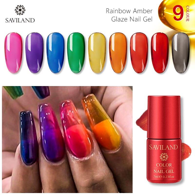SAVILAND Gel de vidrio de jalea, esmalte de uñas arcoíris ámbar, esmalte de uñas, atributo, Gel de titanio de espejo de Color neón translúcido