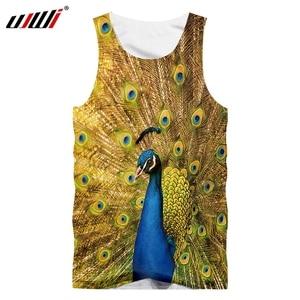 UJWI New Men's 3D Printing Tank Top Animal Peacock Sleeveless Shirt Fashion Casual Green Animal Broken Pendant Vest Dropship 5XL