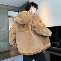 2021 new korean style coat in autumn and winter adding plush jacket for mens wear thickening cotton padded clothe leisure