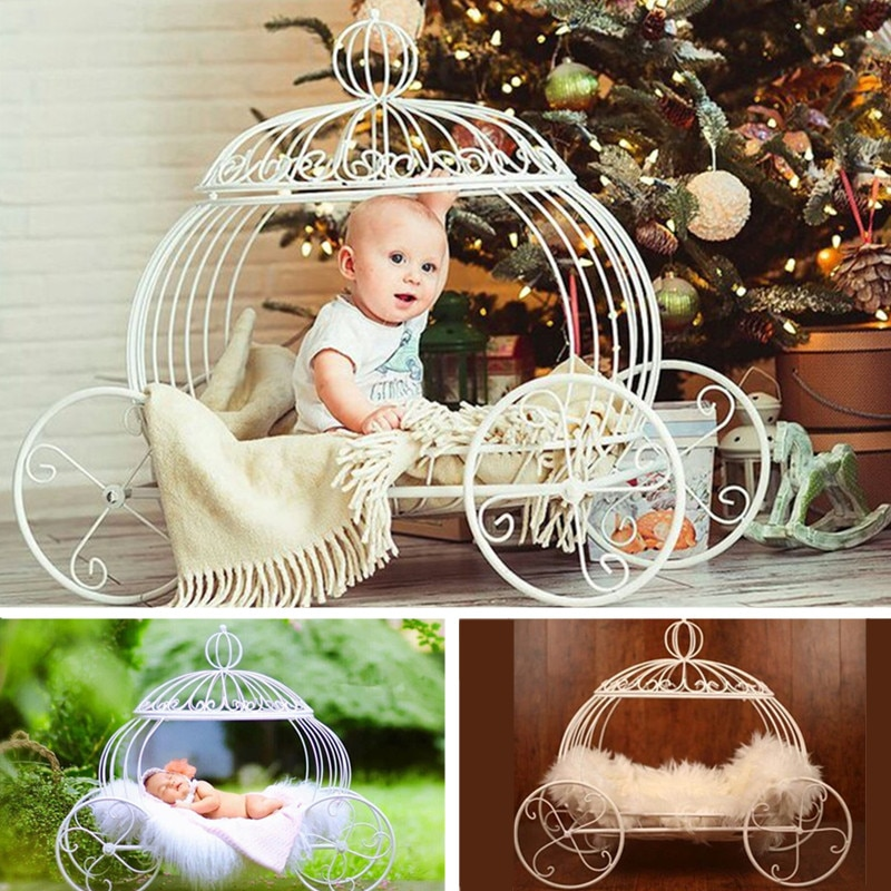 Newborn Photography Props Furniture Iron Pumpkin Car Bed for Kids Baby Shower Photo Shoot Accessories Posing Chair Girl Boy