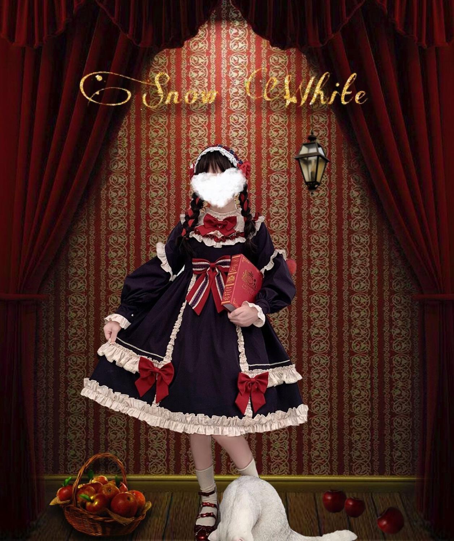 Doce princesa lolita vestido do vintage falbala suporte bowknot vestido vitoriano de cintura alta kawaii menina gothic lolita op loli cosplay
