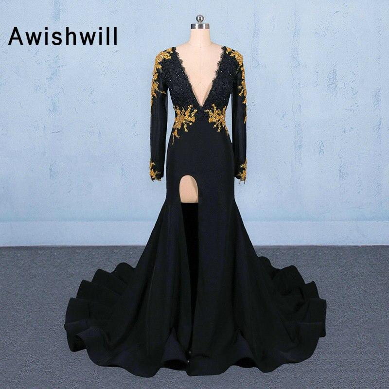 Nueva llegada negro manga larga noche vestido de sirena de encaje de oro con cuello en V profundo vestido de gala sexy con abertura de las mujeres africanas vestido de fiesta